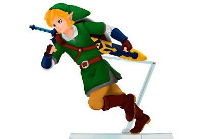 postać z gry zelda - blondyn, młody chłopak w zielonym kubraku i czapce biegnie z mieczem na plecach