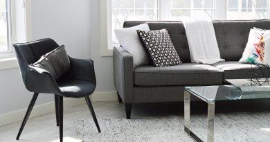 Skromne mieszkanie - krzesło, sofa i stolik. Biały dywan i białe ściany, szare meble. Za sofą znajduje się okno, widok na jakiś budynek